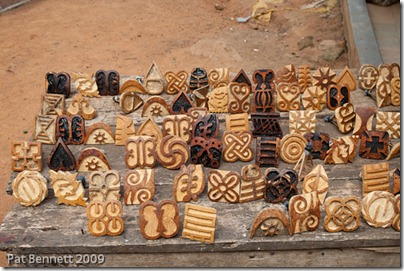 Stamps used in the production of adinkra textiles, made from calabash. Ntonso, Ghana.